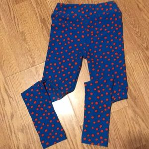 NWOT LuLaRoe blue and red polka dot leggings